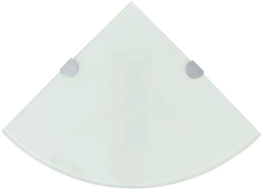 Biała szklana półka narożna - Gaja 3X