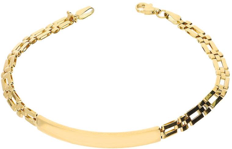 Złota bransoletka 585 blaszka na łańcuchu
