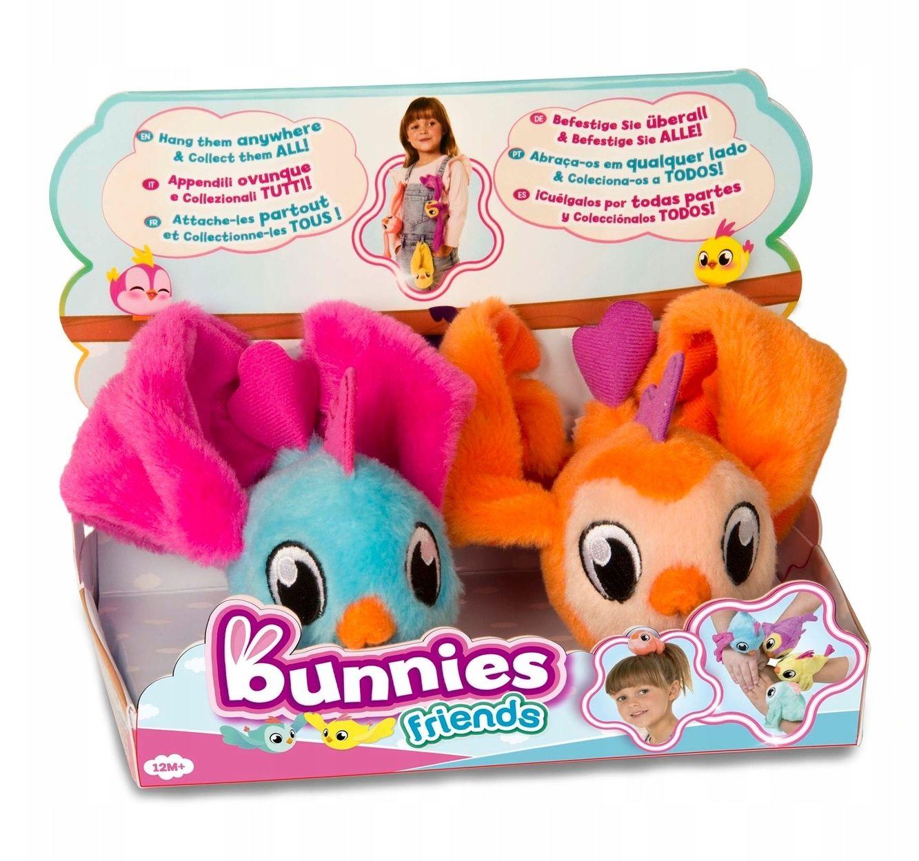 TM Toys Bunnies Love ptaszek magnetyczny zabawka, pluszak 2-pak