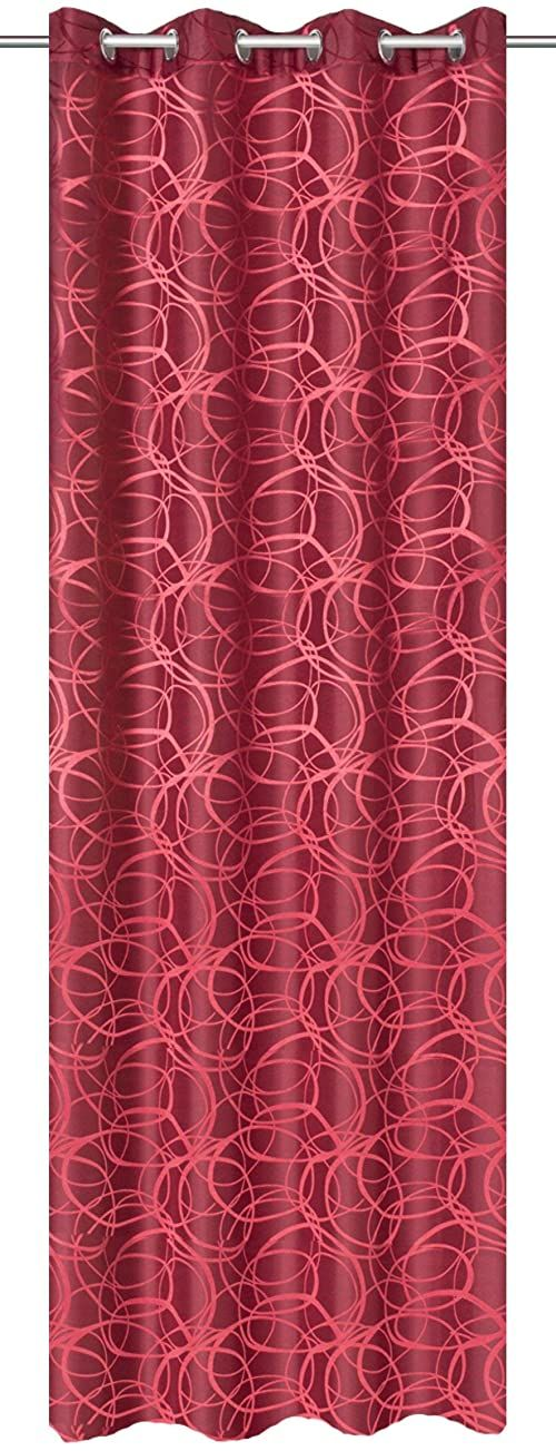 Home fashion zasłona z oczkami materiał dekoracyjny żakardowy wzór, poliester, czerwony, 245 x 140 cm