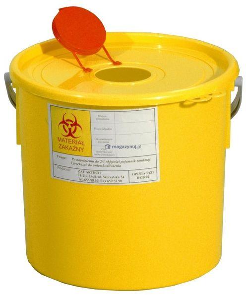 Pojemnik na odpady ostre z otworem wrzutowym, poj. 15l (Kolor żółty)