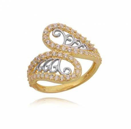 Złoty pierścionek ze wzorem skrzydeł motyla