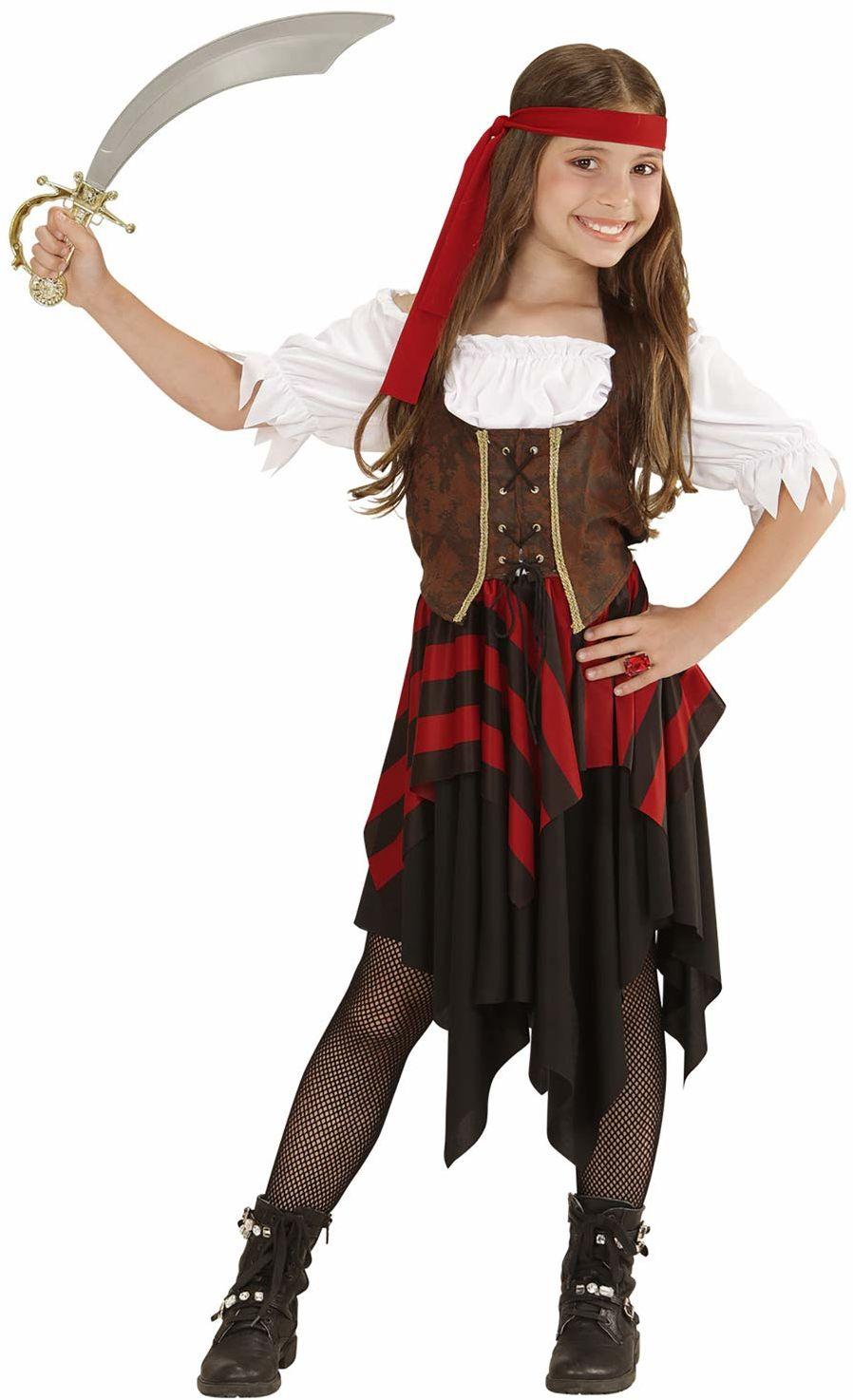 Widmann 05596 - kostium dziecięcy piratka, sukienka, gorset i opaska na czoło, rozmiar 128