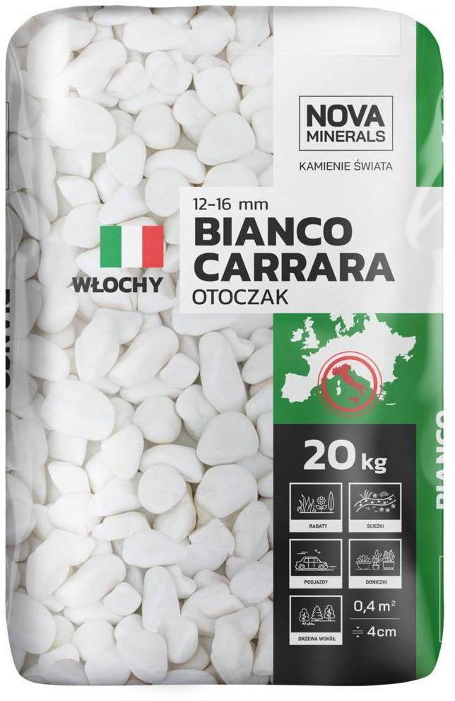 Otoczak BIANCO CARRARA 20 kg 12 - 16 mm biały NOVA MINERALS