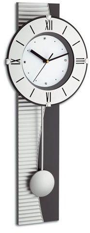 TFA zegar ścienny wahadła, srebrny