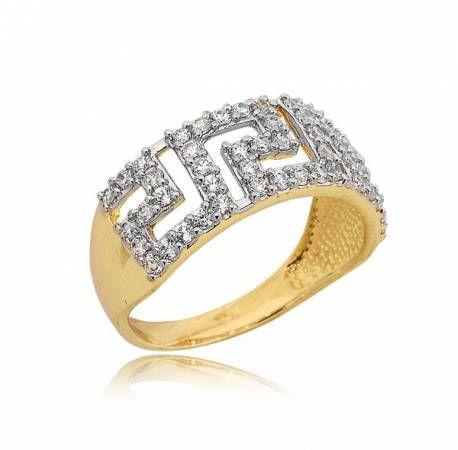 Złoty pierścionek wzor grecki zygzak P1566