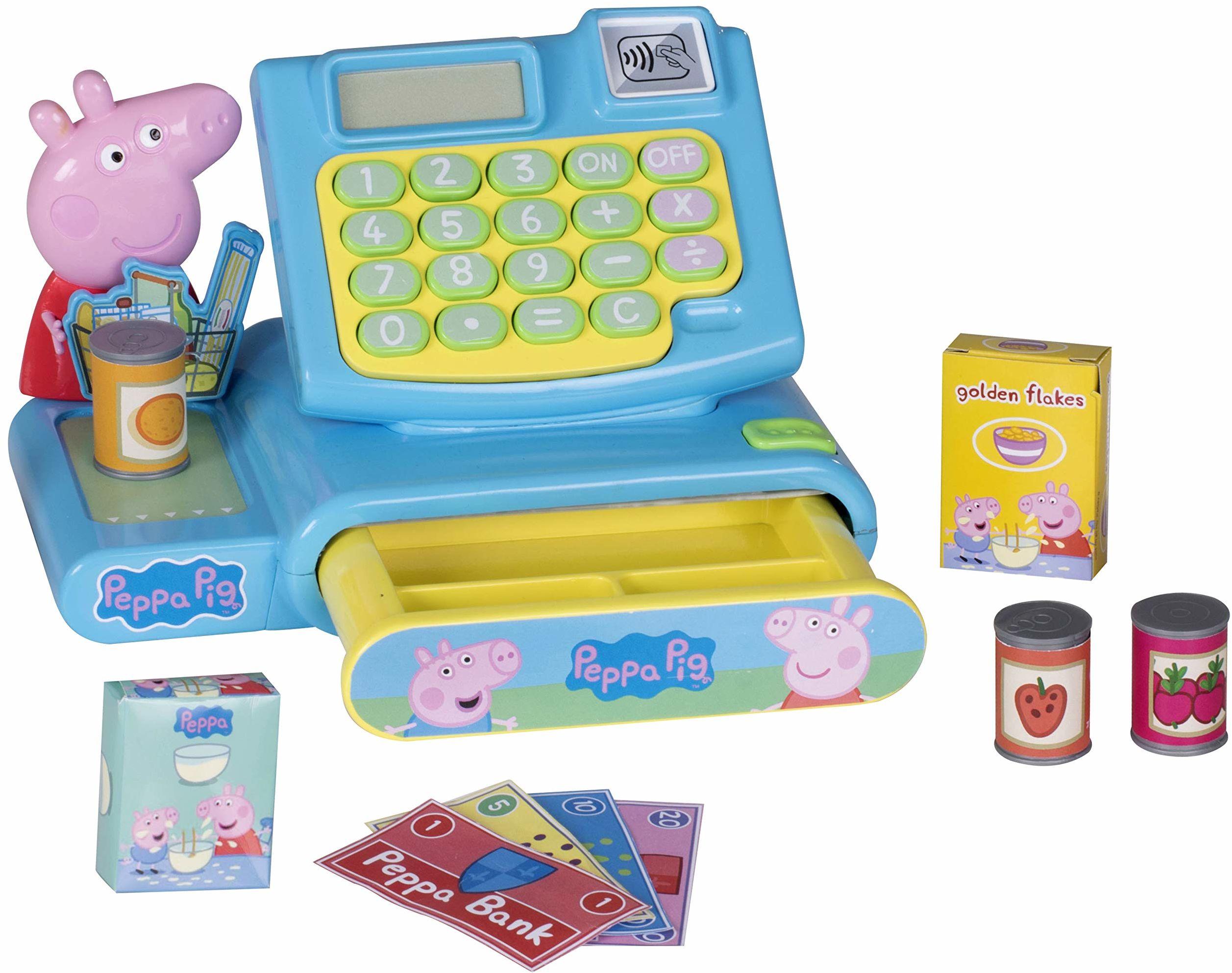 Peppa świnka zestaw zabawkowy kasy udawaj pieniądze maszyna i żywność spożywcza zestaw do zabawy dla chłopców i dziewcząt