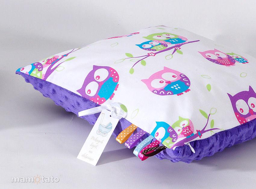 MAMO-TATO Poduszka Minky dwustronna 40x60 Sówki białe z fuksją / fiolet