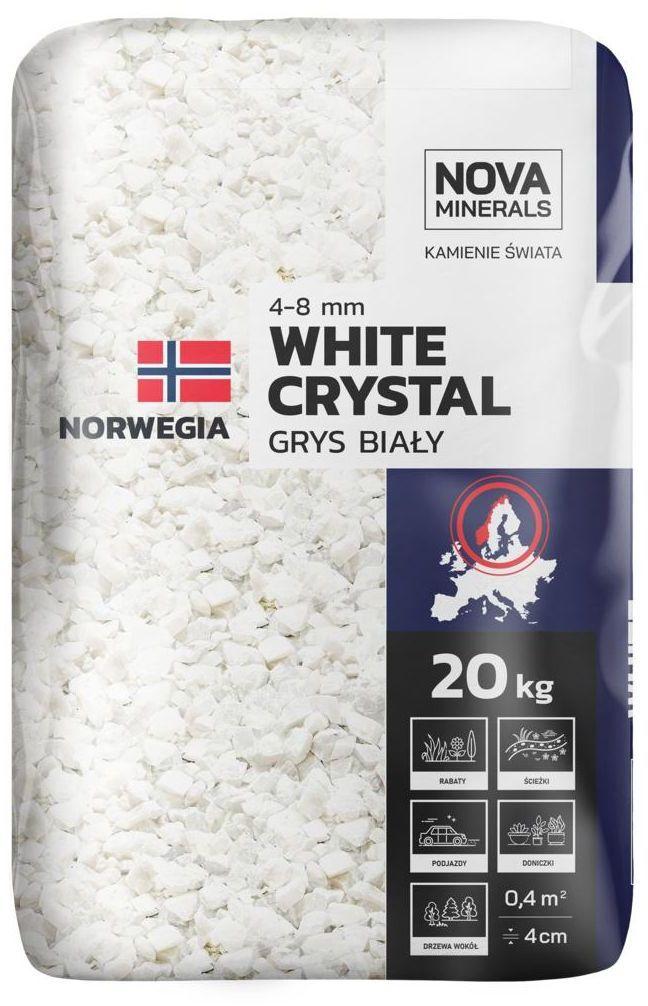 Grys WHITE CRYSTAL 20 kg 4 - 8 mm biały NOVA MINERALS