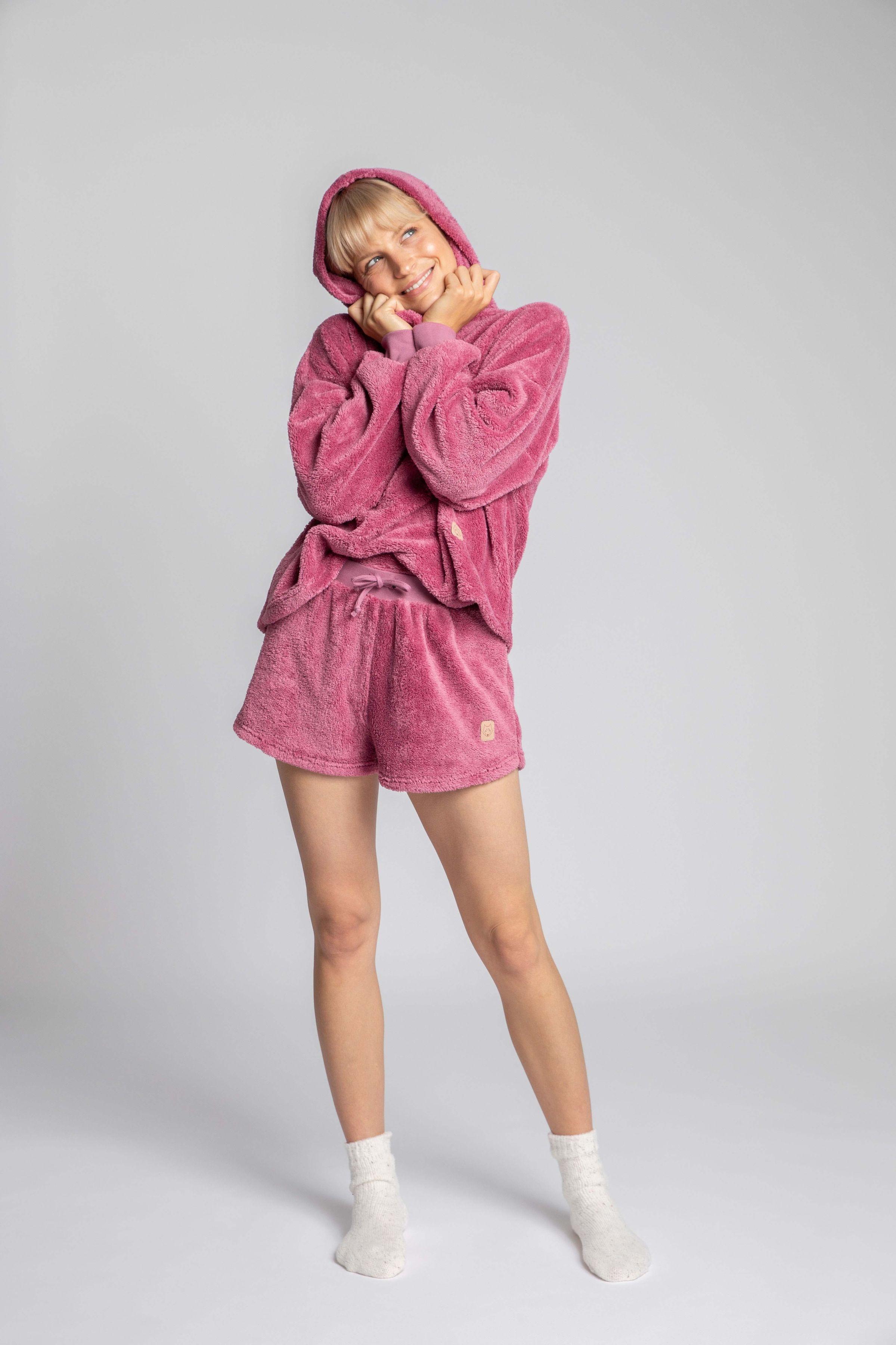 Komfortowe pluszowe szorty - wrzosowe