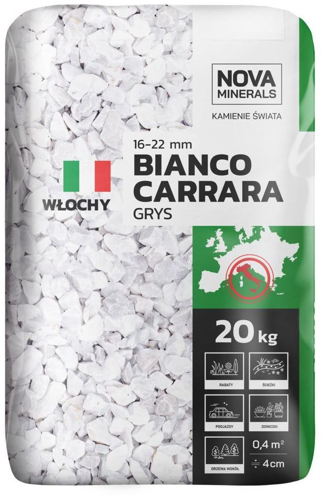 Grys BIANCO CARRARA 20 kg 16 - 20 mm biały NOVA MINERALS