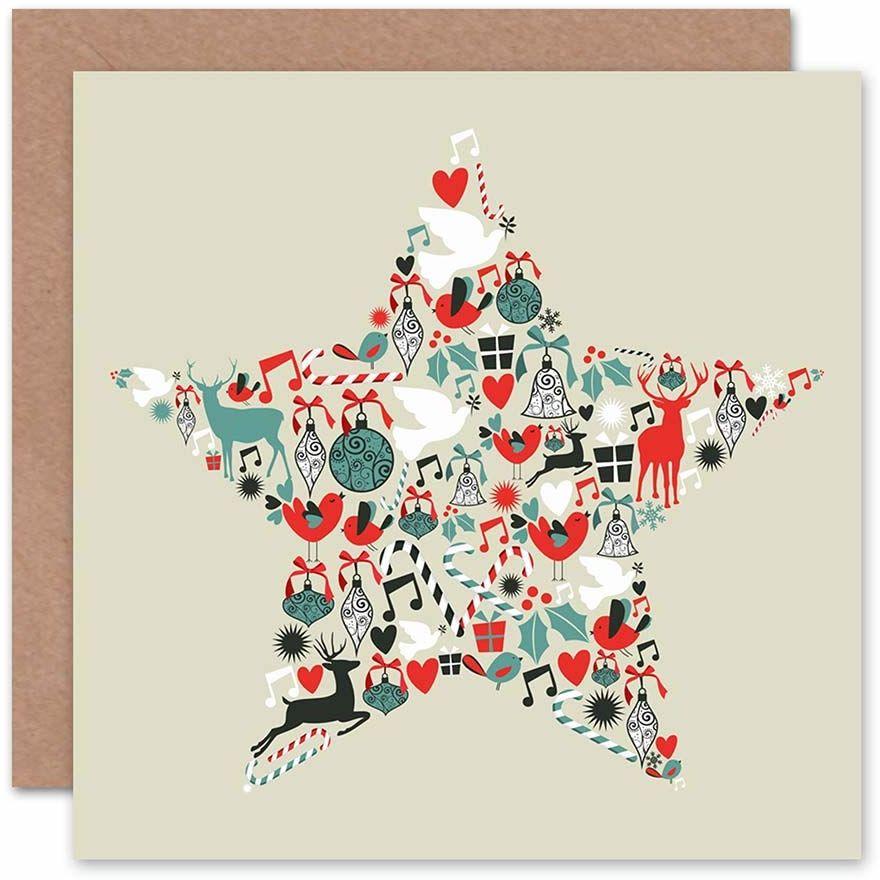 Wee Blue Coo Świąteczne gwiazdy gołębie dekoracje jeleń kocyk kartka z życzeniami