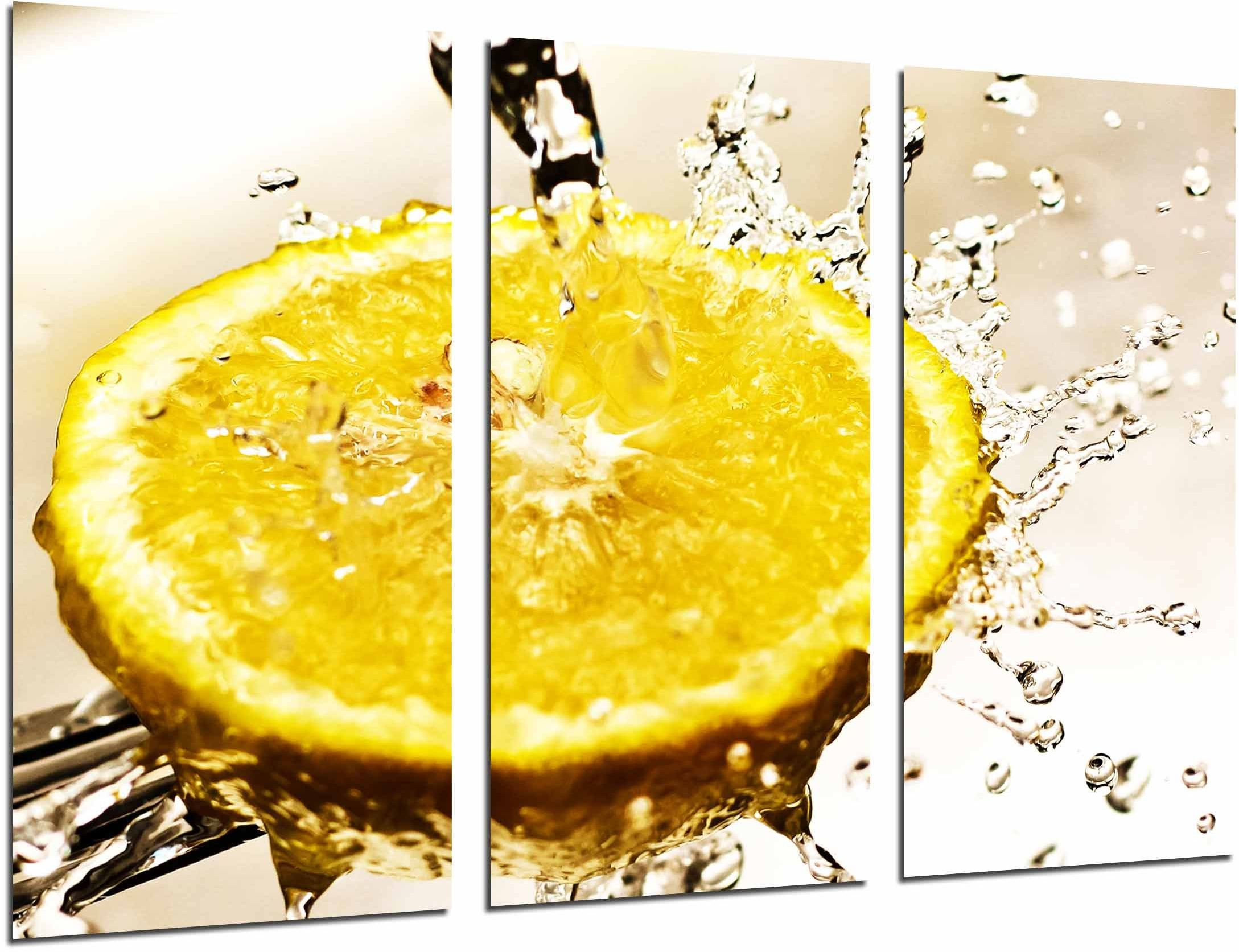 Obraz ścienny - cytryna z wodą, żółty, owocowy, kwasowy, 97 x 62 cm, druk drewniany - format XXL - druk artystyczny, ref.26672