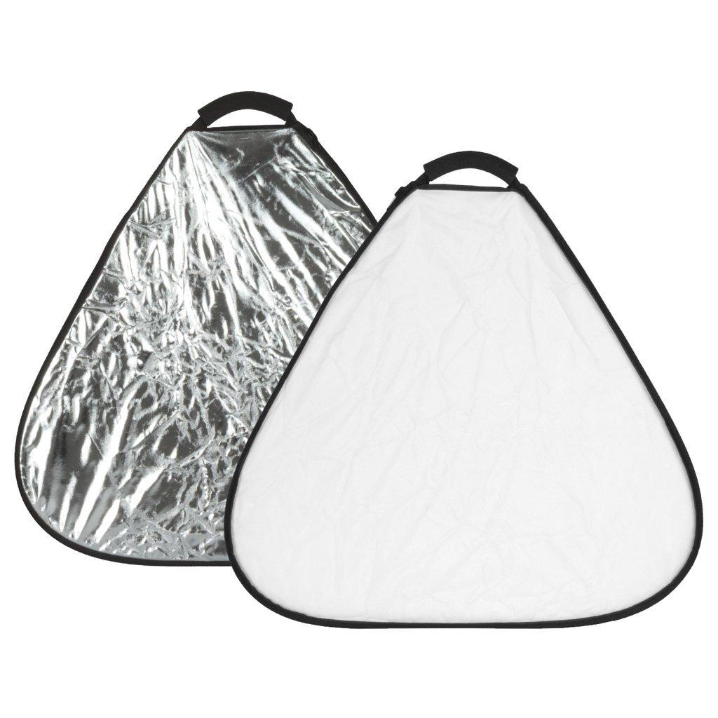 Blenda trójkątna GlareOne 2w1 60cm srebrno-biała - WYSYŁKA W 24H