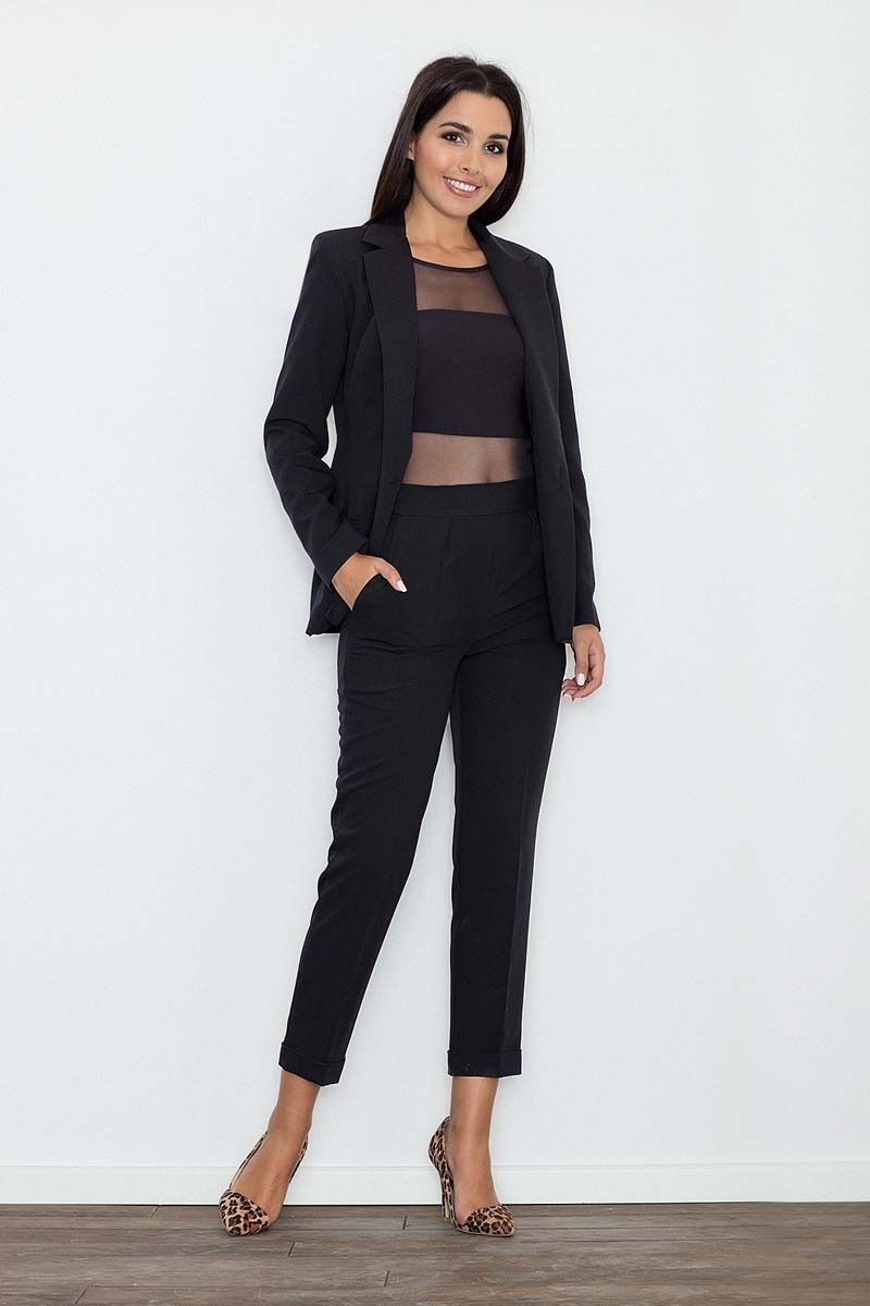 Czarne spodnie 7/8 w kant z mankietem
