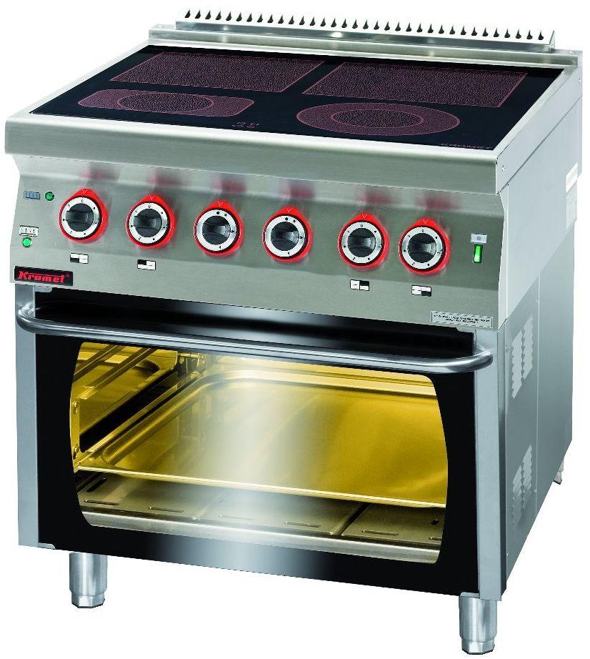 Kuchnia gastronomiczna elektryczna ceramiczna 4-polowa z piekarnikiem el. KROMET 700.KE-4C/PE-2