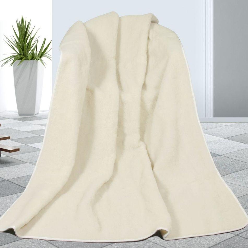 Bellatex Koc pled wełniany biały, 155 x 200 cm