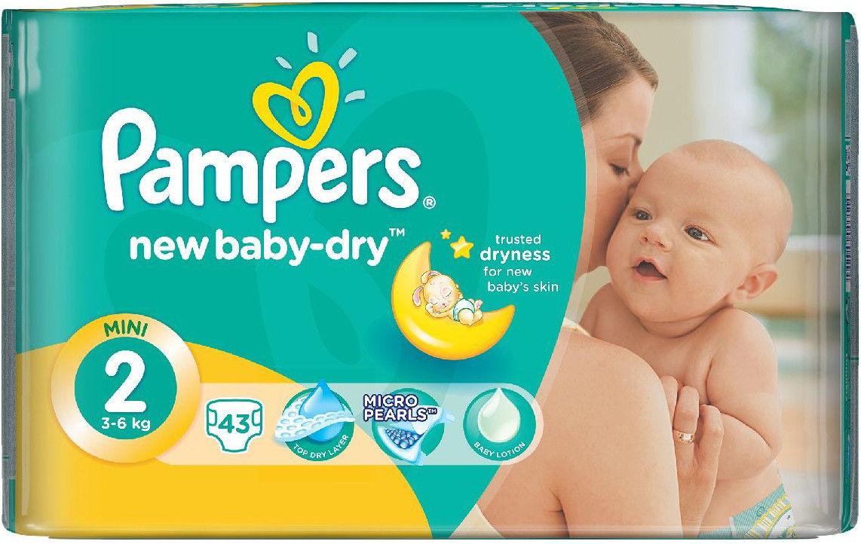 Pampers 2 New Baby-Dry pieluszki jednorazowe 3-6 kg Midipack 43 szt.