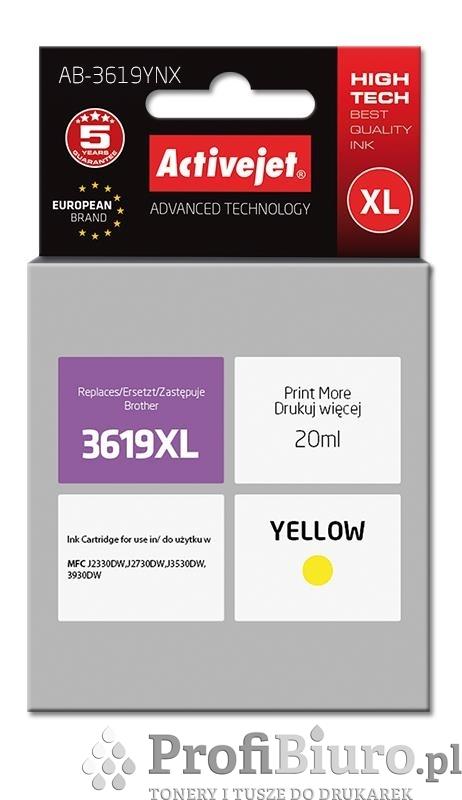 Tusz Activejet AB-3619YNX (zamiennik Brother LC3619Y; Supreme; 20 ml; żółty)