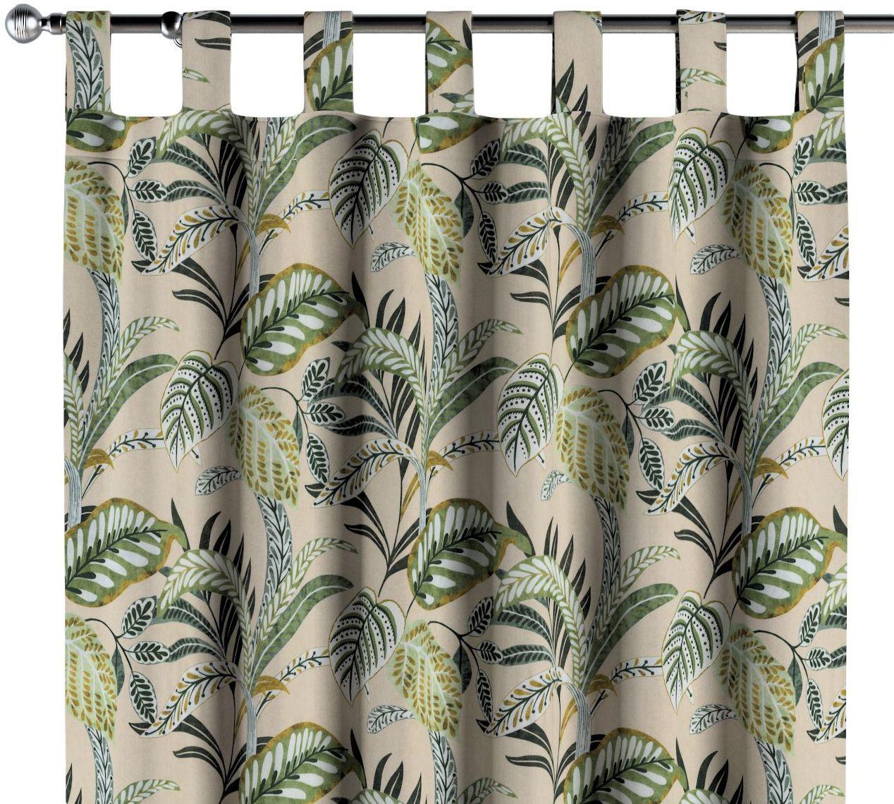 Zasłona na szelkach 1 szt., oliwkowo-zielone liście na lnianym tle, 1szt 130  260 cm, Tropical Island