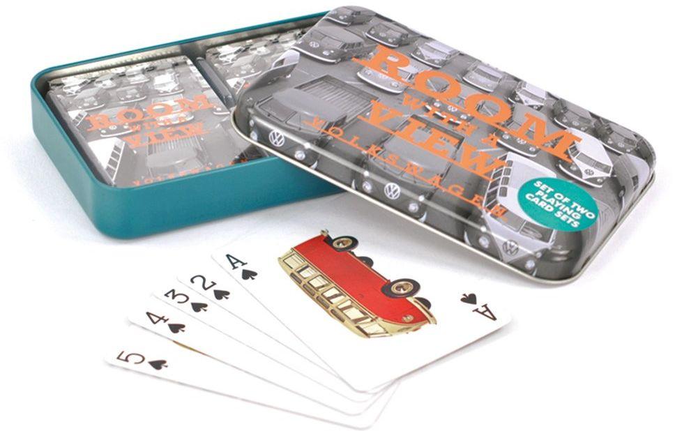 BRISA VW Collection  Volkswagen T1 Bulli Bus karty do gry w piłkę metalową w eleganckim metalowym pudełku, pomysł na prezent (A Room with a View)