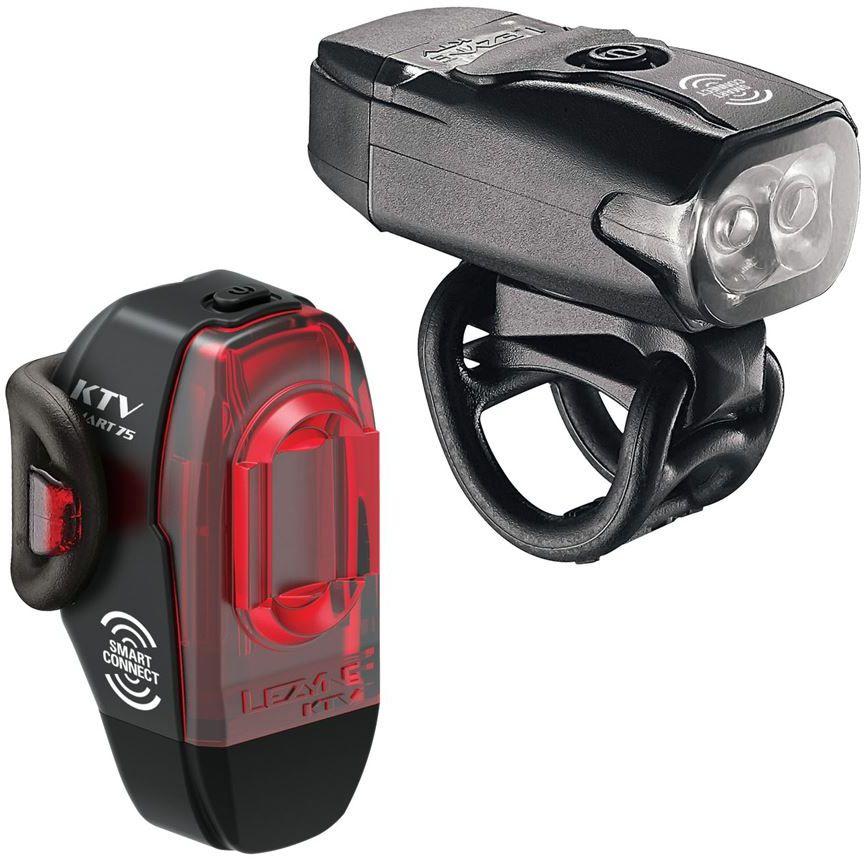 Zestaw lampki LEZYNE KTV DRIVE / KTV PRO SMART DRIVE przód 220 lumenów, tył 75 lumenów, bezprzewodowe przyciski na kierownicę wł/wył, usb czarne