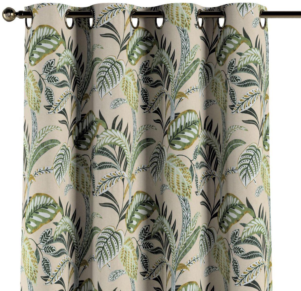 Zasłona na kółkach 1 szt., oliwkowo-zielone liście na lnianym tle, 1szt 130  260 cm, Tropical Island
