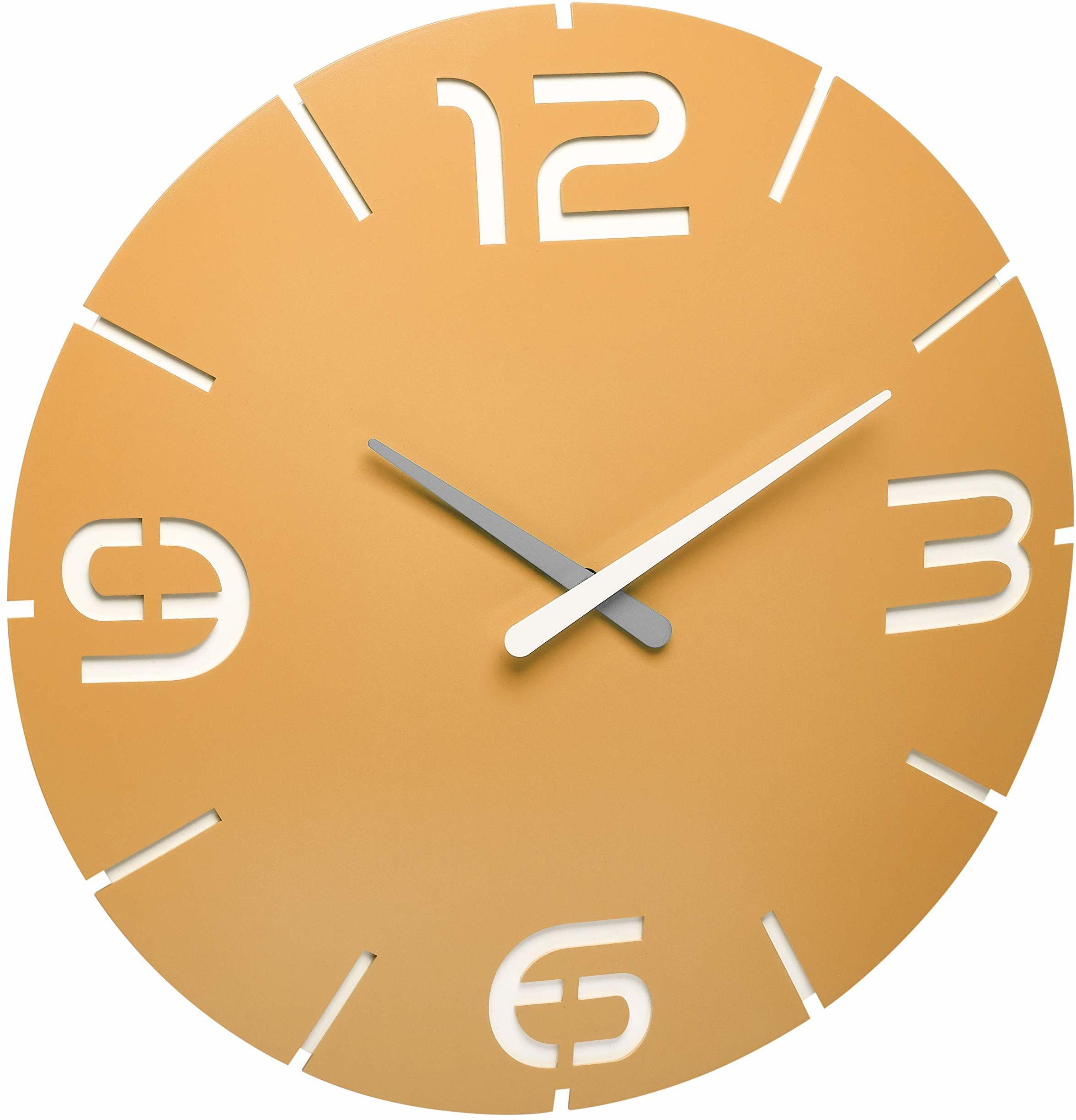 TFA Dostmann Contour Design zegar ścienny sterowany radiowo, duży, 60.3536.07, żółty