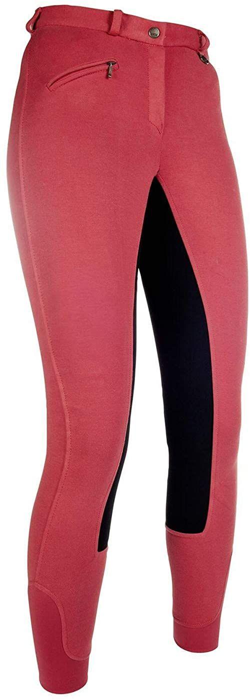 HKM Spodnie unisex Basic Belmtex Grip Easy - obszycie 3/4 beżowy czerwony/czarny 48