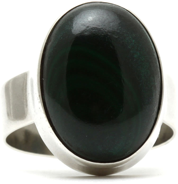 Kuźnia Srebra - Pierścionek srebrny, rozm. 15, Malachit, 7g, model