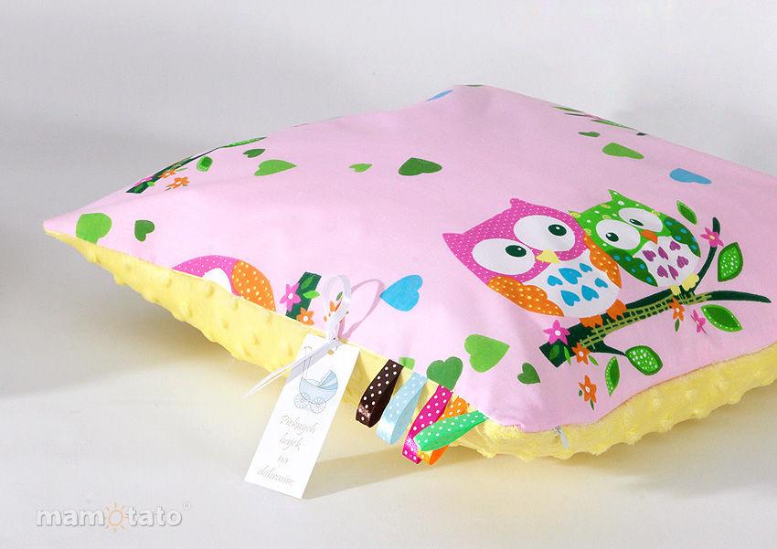 MAMO-TATO Poduszka Minky dwustronna 40x40 Sówki różowe D / żółty