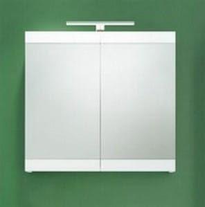 Szafka z lustrem łazienkowa, biały połysk + LED matowy szary, SERENA RETRO