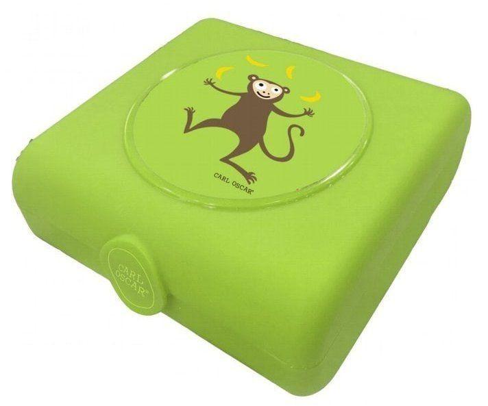 Carl Oscar Kids Sandwich Box Pojemnik na Przekąski i Kanapki Lime - Monkey