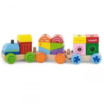 Viga Drewniana Kolorowa Kolejka Pociąg Klocki