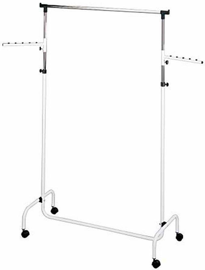 WENKO Trio wieszak na ubrania z 2 ramionami, wieszak garderobiany do przechowywania ubrań z kółkami i regulowanym drążkiem, tworzywo sztuczne/metal, 91 x 122 x 45 cm, chrom/biały