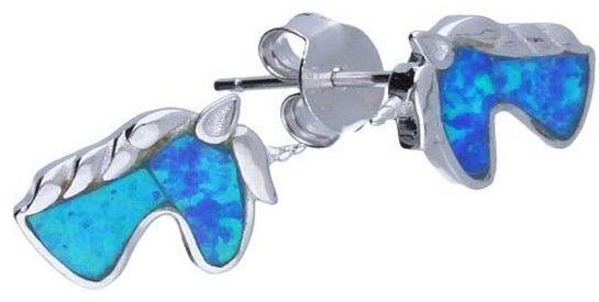 Srebrne kolczyki 925 sztyft koniki niebieski opal 1,44g