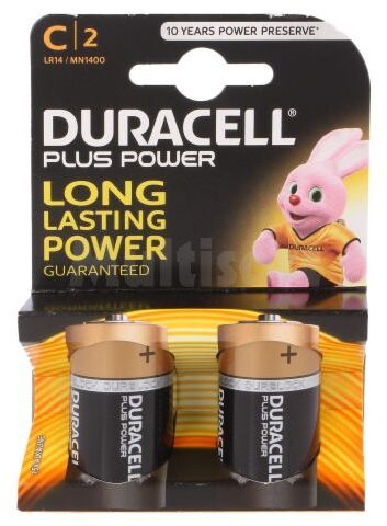 Bateria alkaliczna 1,5V C DURACELL PLUS 2szt.