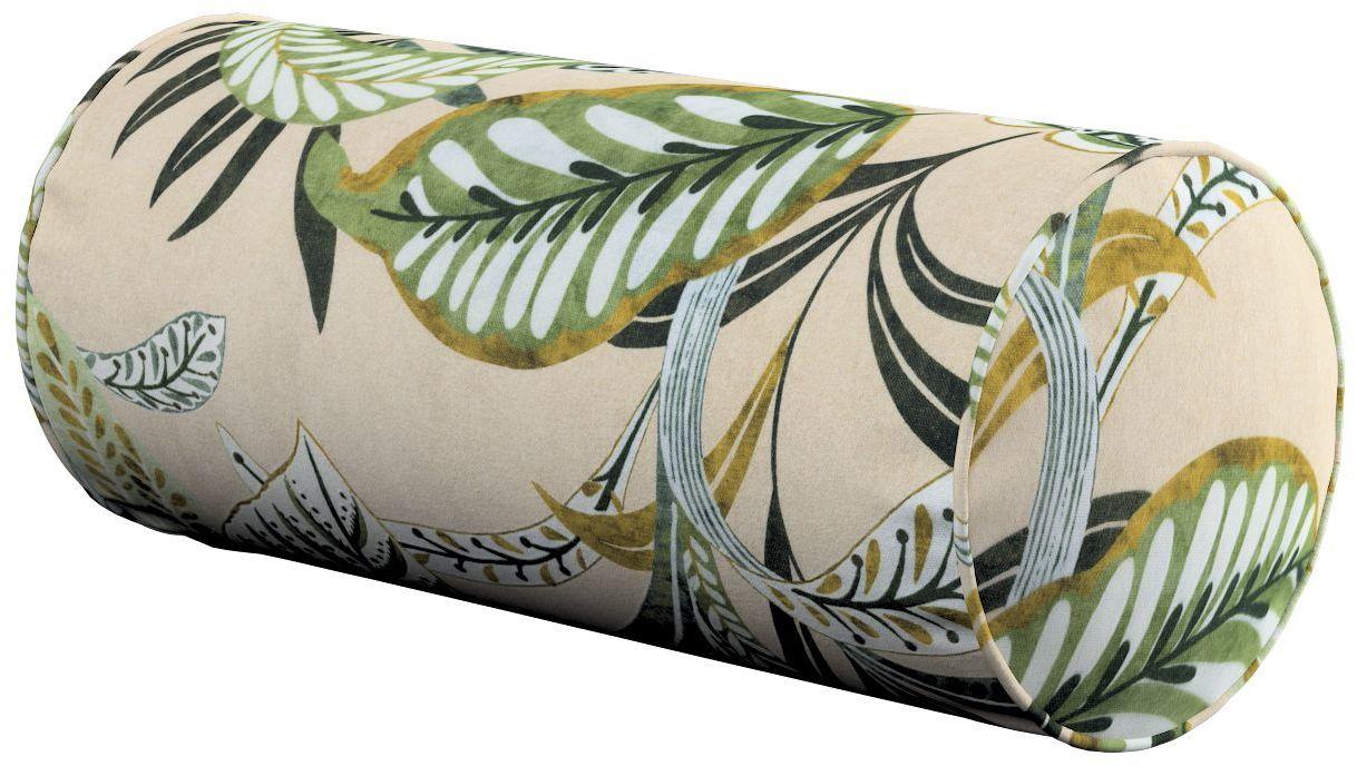 Poduszka wałek prosty, oliwkowo-zielone liście na lnianym tle, Ø16  40 cm, Tropical Island