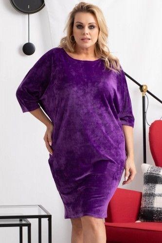 Sukienka WELUROWA dzianinowa oversize PATRISZJA ciemny fiolet
