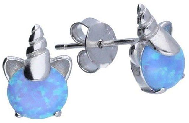 Srebrne kolczyki 925 Jednorożec opal 1,36g