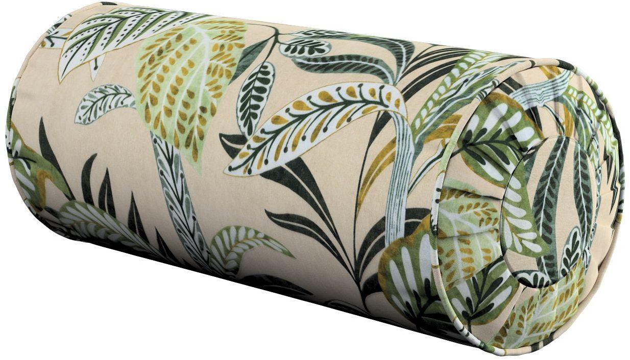 Poduszka wałek z zakładkami, oliwkowo-zielone liście na lnianym tle, Ø20  50 cm, Tropical Island