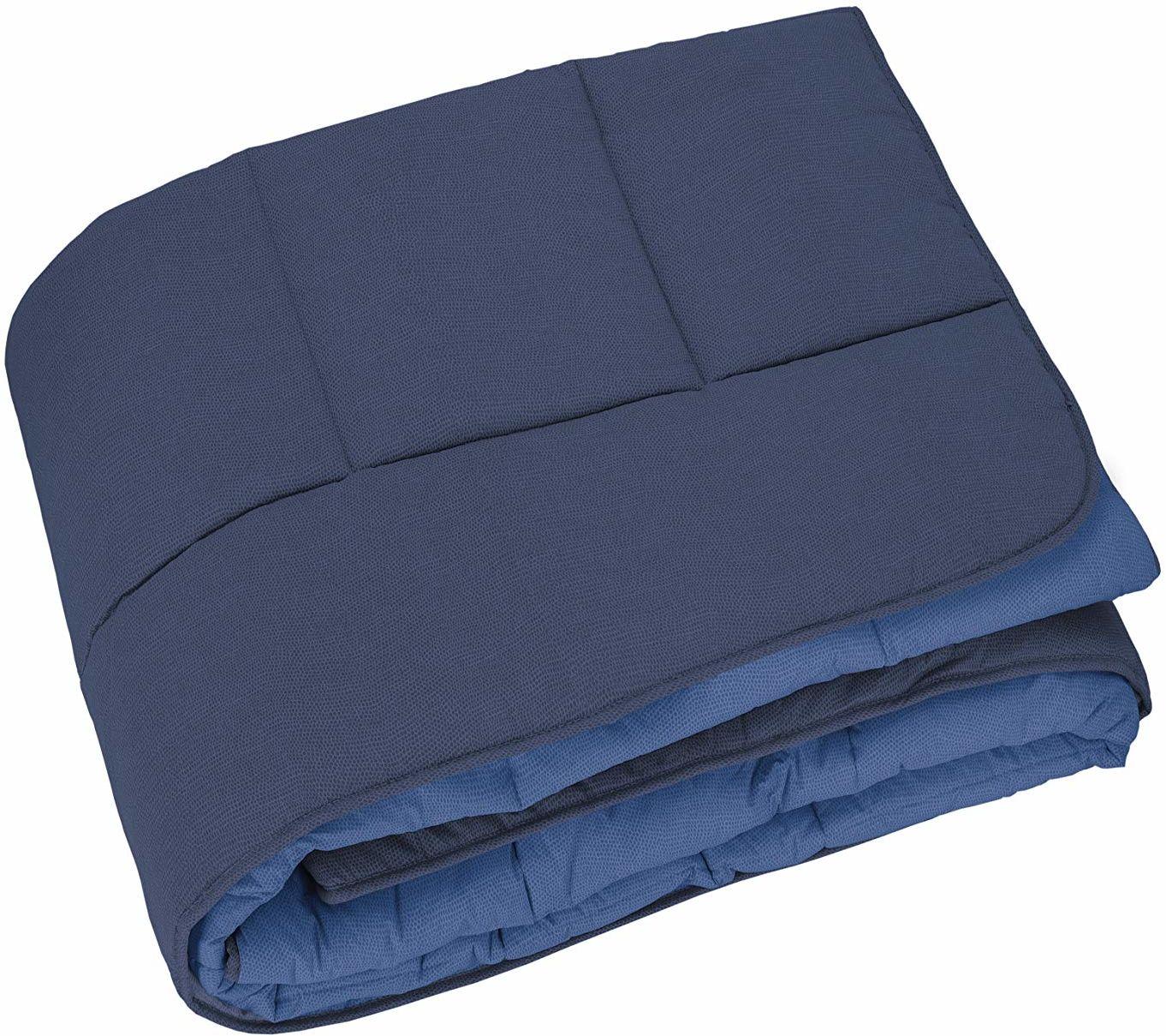 Widelec kołdra pikowana do łóżka francuskiego, niebieska