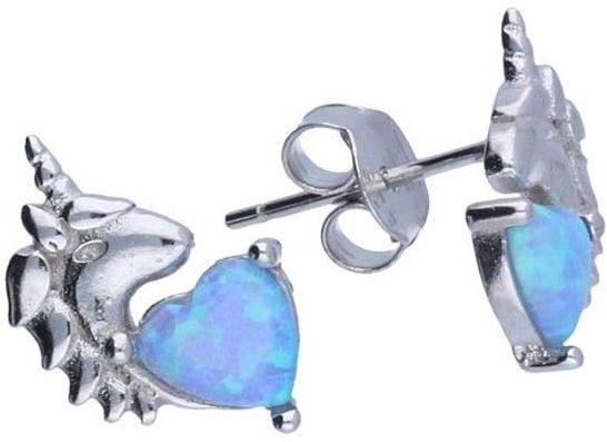 Srebrne kolczyki 925 Jednorożec serce opal 1,56g
