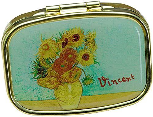 Fridolin Pojemnik na tabletki Van Gogh słoneczniki z metalu, kolorowy, 5,1 x 3,6 x 1,8 cm