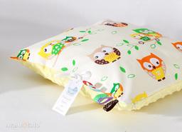MAMO-TATO Poduszka Minky dwustronna 40x40 Sówki kremowe / żółty