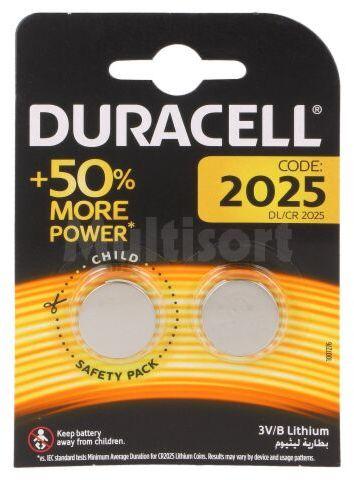 Bateria litowa 3V CR2025 DURACELL pastylkowa 2szt. fi20x2,5mm