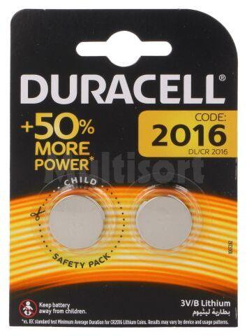 Bateria litowa 3V CR2016 DURACELL pastylkowa 2szt. fi20x1,6mm