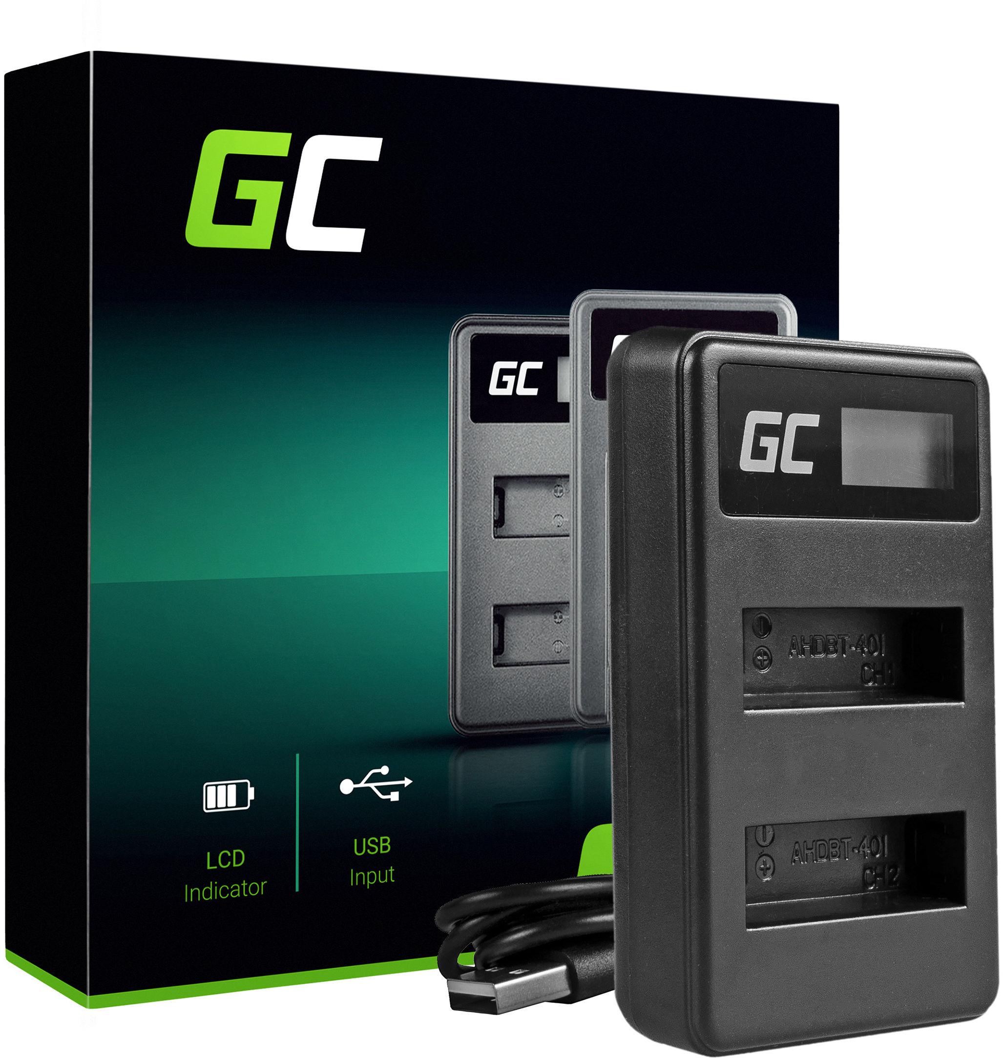 Ładowarka AHBBP-401 Green Cell  do GoPro HERO 4 CHDBX CHDBY CHDHX CHDHY Black White Silver Edition (4.2v 2.5w 0.6A)