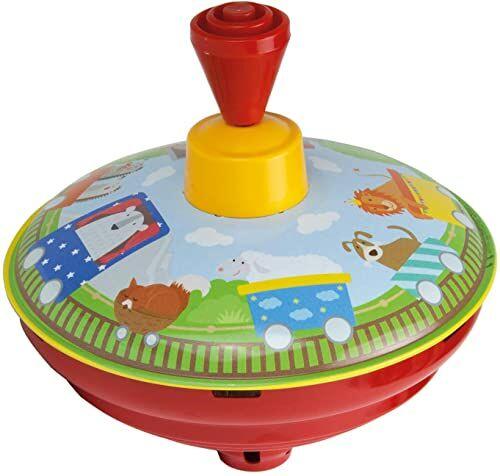 Bolz 52583 Brummkreisel pociąg 13 cm, blaszane koła zamachowe, klasyczne pompki, blaszane bąbelki z motywem kolejki, bąbelki z czubkiem, żłobki do zabawy dla dzieci od 18 m+, kolorowe