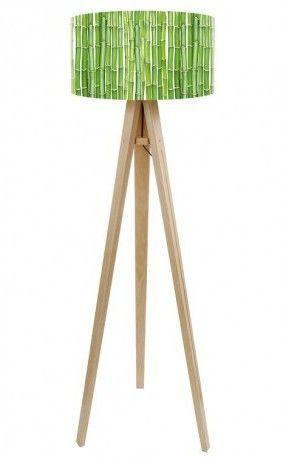 Lampa podłogowa Trójnóg Sosnowy Bambusowy płotek